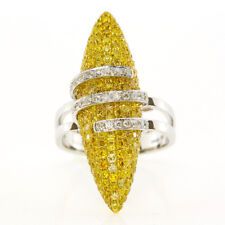 Real 2.36ct Natural Fancy Intense Yellow Diamonds Engagement Ring 18K Solid Gold