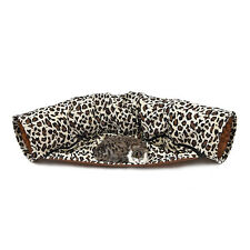 Cat Tunnel Toy Bed 2 In 1 With Removable Bed Leopard  Squeaking Rabbit Play Toys