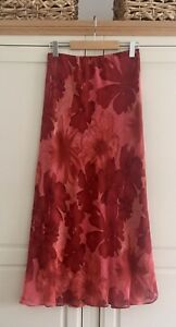 Alex & Co.size 10.Red Silk Georgette Bias Cut Lined Skirt.