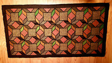 Antique Primitive Hooked Wool Rug with Geometric Design 1900-1930 4 ft x 2.3 ft
