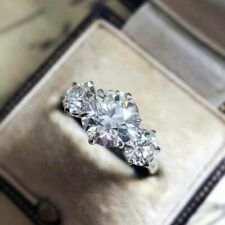 2.50 Carat Solitaire 3 Stone Round Cut Moissanite Engagement Ring 14k White Gold