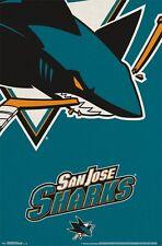 SAN JOSE SHARKS - LOGO POSTER - 22x34 - NHL HOCKEY 13869