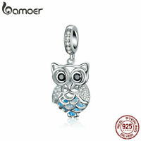 BAMOER Genuine S925 Sterling silver Charms owl Dangle With CZ Fit Women Bracelet
