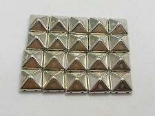 100 Silver Tone Metallic Rock Punk Square Pyramid Rivet Acrylic Studs Beads 10mm