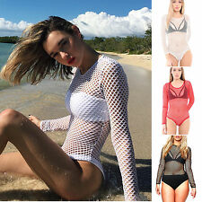 Damen Mesh Netz Bodysuit Overall Langarm Leotard Transparent Jumpsuit Tops Bluse