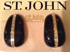 ST JOHN COLLECTION..EARRINGS..CLIP-ON..GOLD TONE/BLACK..RHINESTONES..LARGE