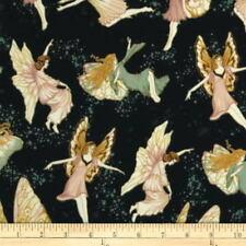 CLEARANCE! Hoffman Fairy Briar Fairies Fabric Navy w/Gold Metallic BTY