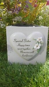 Sister Heart Lily Memorial Vase (rose bowl) Grave Garden Ornament memorial verse