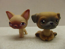 LITTLEST PET SHOP LPS ORIGINAL BROWN & GRAY PUG DOG # 2 & CHIHUAHUA #1 RARE HTF