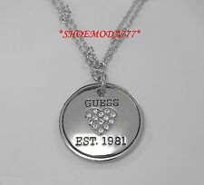 GUESS Exclusive Two Row Large Coin Pendant Necklace Collier Rhinestones Gift Bag