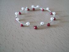 Bracelet Blanc/Bordeaux, Mariéé/Mariage/Soirée ( pr robe de) perles verre nacrée
