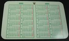 Vintage 2002 - 2003 Genuine Rolex Calendar Card USA Seller