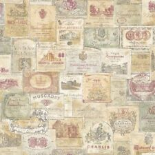 G56173 Memories 2 Red Cream Green French Wine Labels Writing Feature Wallpaper
