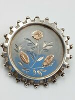 Victorian 800 Silver Brooch - Target Style with Applied Rose Gold Flowers -