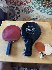 Vintage Tamasu Butterfly Wakaba D-13 table tennis Paddle w/case & mini mirror