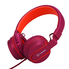 Yomuse On Ear Foldable Headphones for Girls Kids Women, iPhone Kindle Dard Red