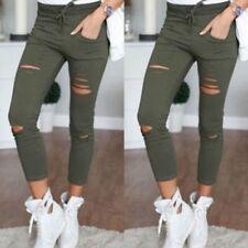 Womens Denim Skinny Ripped Pants High Waist Stretch Jeans Slim Pencil Trousers