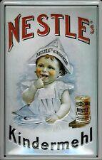 Blechschild Nestle Kindermehl Kind Papierhut retro Reklame Schild 20x30 cm
