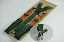 Dark Emerald Green Elastic Tan Brown Leather Suspenders Braces For all ages