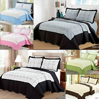 Floral Embroidered Quilted Throw Bedspread Comforter Bedding Set + Pillows Cases