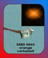 10 x SMD LED Bauart 0603 orange verkabelt Litze Kabel Kupferlackdraht