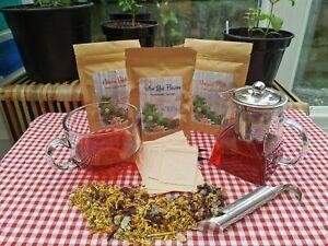 Herbal Tea Starter Kit - Chamomile Tea - Infuser Teapot, Bamboo Tongs - Hibiscus