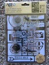 Art-C Clear Acrylic Stamp & Adhesive Stencil Set TRAVEL 32-pc 28841 NEW