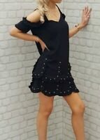 NEW WITH TAGS The Kooples Black Stud Embellished Cascading Dress RRP 240 EURO