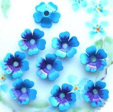 Vintage Enamel Flower Beads Cabochons Blue Spacer Flowers Metal Jackets #1558