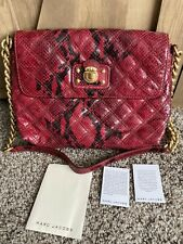 MARC JACOBS RED SNAKESKIN PYTHON QUILTED LEATHER SHOULDER BAG PURSE BAG CHAIN