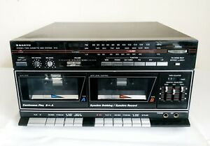 RETRO SANYO DCX W10 STEREO SYSTEM TWIN CASSETTE WITH AUX