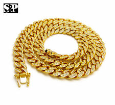 """12mm 30"""" Cuban Box Lock Chain Necklace Hip Hop Iced Out Gold plated Jay-Z, Quavo"""