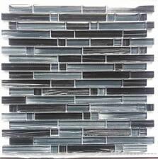 """""""PICASSO"""" Black brushed mosaic tile backsplash tiles bath wall bar floor back"""