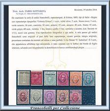 Colonie Italiane 1893 Eritrea Prima Serie n. 1/11 Certificato Nuovi Integri ** s