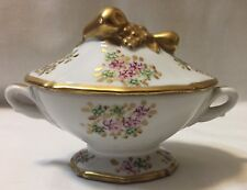 Chamart France Limoges Porcelain Mini Tureen Gold with Flowers