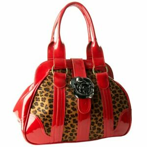 Womens luxury leopard-printed pony skin and red patent leather tote bag