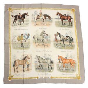 HERMÈS PARIS Tuch Scarf Les Robes Philippe Ledoux Seide Silk Vintage Equestrian