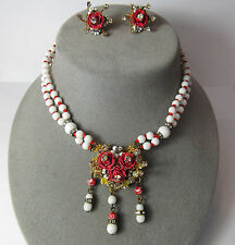 Vintage ORIGINAL by ROBERT Rose Flower Enamel Red Glass NECKLACE & EARRINGS Set