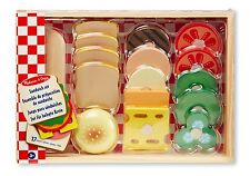 Melissa and Doug Sandwich Set - Wooden Pretend Play Food - Chopping Fun