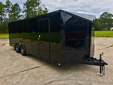 8.5X24 ENCLOSED CAR HAULER TRAILER 5200 LB TORSION AXLES 1 PC ROOF RADIALS LED'S