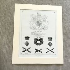 Antique Military Print Uniform British Army Royal Arms Badges of Rank