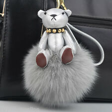 Silver Leather Teddy Bear Fox Fur Puffy Pom Pom Ball Keyring keychain Bag Charm