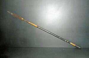 OLD AFRICAN SPEAR ETHNIE SHONA 1, CIRCA1920,ZIMBABWE,  BRASS DECORATIONS, NICE