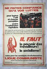 VINTAGE 70'S AFFICHE POLITIQUE FRANÇAISE  LIGUE COMMUNISTE 86 X 58 CM