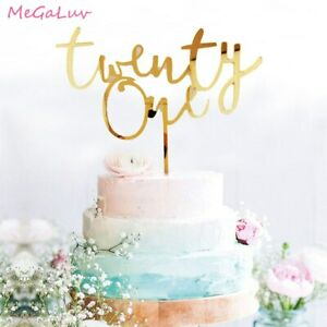 Twenty One 21th Birthday Acrylic Cake Topper 21th Birthday Cake Insert Decor NEW