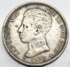 ESPAÑA ALFONSO XIII 1903 *19-03 Perfecta SMV 1 PESETA MONEDA PLATA MBC+