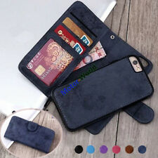PU Leather Retro Magnetic REMOVABLE Detachable 2in1 Wallet Flip Phone Case Cover