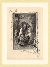 Die Waldhexe Sammlerin Pilze Kräuter von Herm. Vogl HOLZSTICH II 994