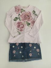 MONNALISA Floral Rose top and Denim Skirt Set age 8 Years GORGEOUS