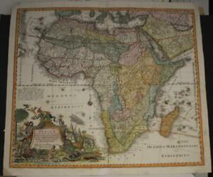 AFRICAN CONTINENT 1730 SEUTTER UNUSUAL ANTIQUE ORIGINAL COPPER ENGRAVED MAP